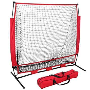 ZENY Portable 5 x5 Baseball Softball Practice Sports Net Hitting Pitching Batting Training Net w Carry Bag Metal Frame,Rubber Feet,Great for Indoor Outdoor Practice 5 X5 net