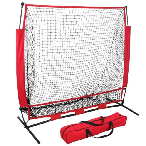 - ZENY Portable 5'x5' Baseball Softball Practice Sports Net Hitting Pitching Batting Training Net w/Carry Bag & Metal Frame,Rubber Feet,Great for Indoor Outdoor Practice (5'X5' net)
