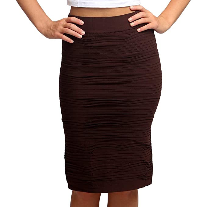 78975ca12 Amazon.com: Trinity Tribe Textured Pencil Skirts Brown: Clothing