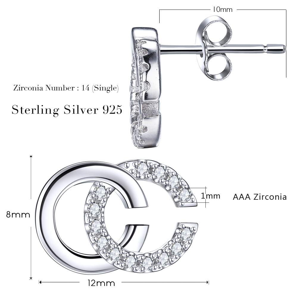 Diameter 12mm Lydreewam 925 Sterling Silver Letter Double C Earrings for Women with 3A Cubic Zirconia