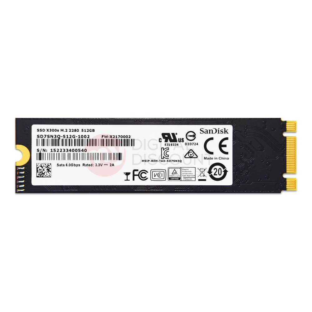 SanDisk 512GB X300s Single Sided MLC 80mm (2280) SATA III (6G) M.2 NGFF OEM SSD w/ SED - SD7SN3Q-512G-1002 by SanDisk