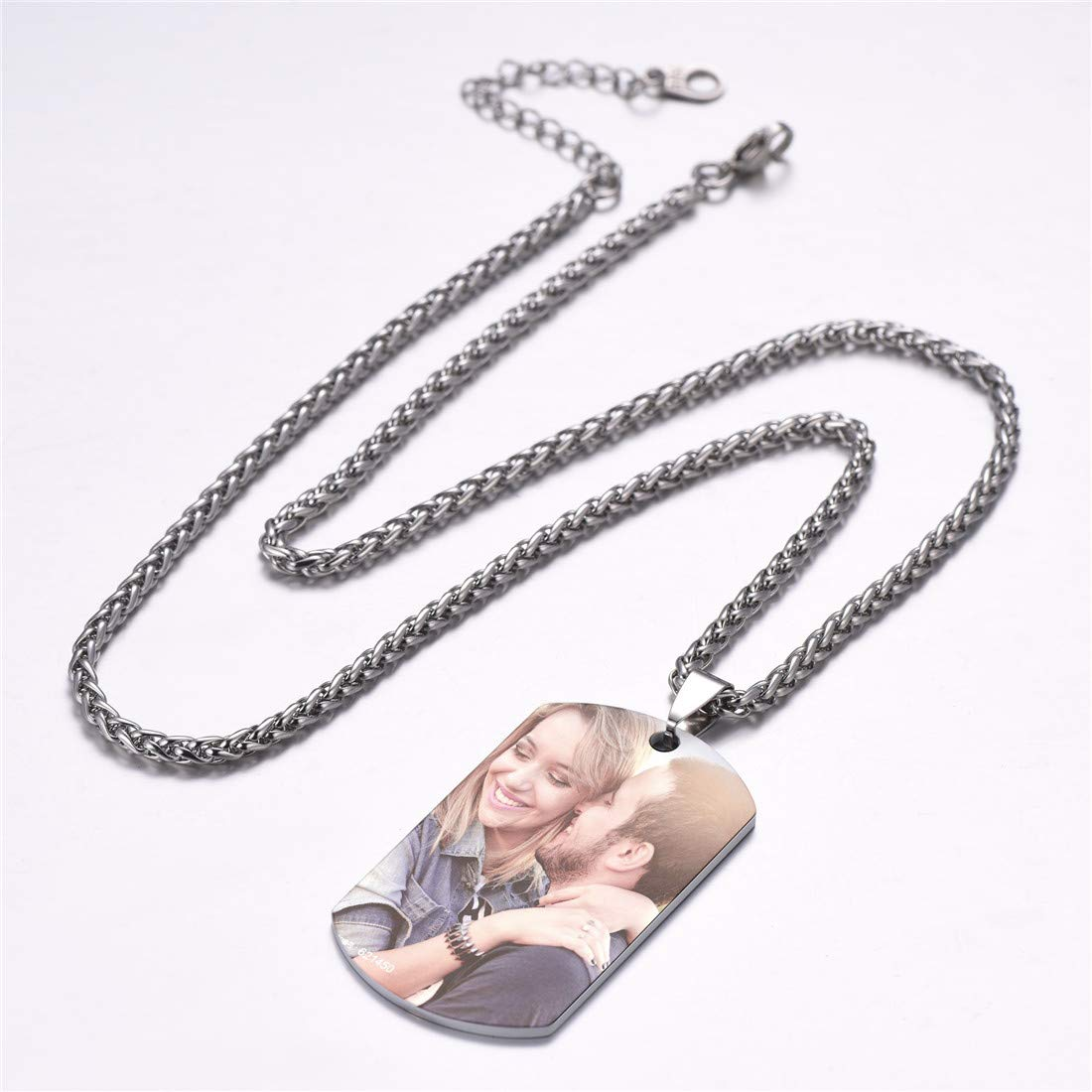 Gift for Men Women U7 Personalized Dog Tags Necklace with Chain Stainless Steel Text//Image Print Photo Custom Engraving Pendant