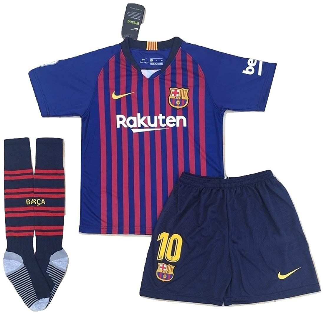 new product af9af 7cec7 StarSoccer Messi #10 New 2018-2019 FC Barcelona Home Jersey Shorts and  Socks for Kids/Youth Red, Blue