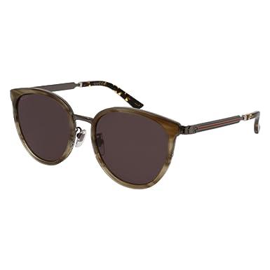 Gucci Unisex-Erwachsene Sonnenbrille GG0050S 004, Braun (Avana/Brown), 56