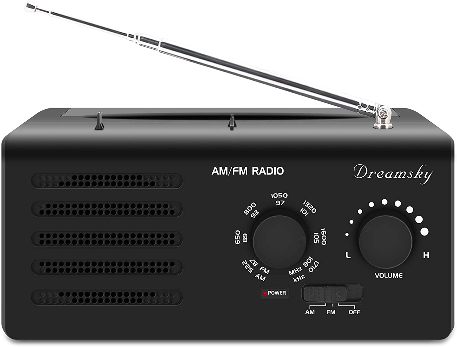 DreamSky Portable Radio AM FM - Battery Operated Radio (2 D Size) Outlet Powered Radio for Home/Outdoor/Emergency, Transistor Radio with Strong Reception Clear Loud Sound for Senior, Easy Tuning Knob