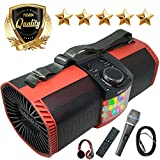 EMB Bluetooth Boombox Street Disco Stereo Speaker - 3600mAH Rechargeable Battery Portable Wireless 300 Watts Power FM Radio/MP3 Player w/Remote and Disco Light w/EMB Microphone & Headphone (Red)
