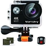 Vansky アクションカメラ 4K WiFi搭載 30M防水 1200万画素 2インチ液晶画面 リモコン付き 170度広角レンズ ハルメット式 スポーツカメラ バイク/自転車/車に取り付け可能 ウェアラブルカメラ HD動画対応 防犯カメラ・ドライブレコーダーも使用可能