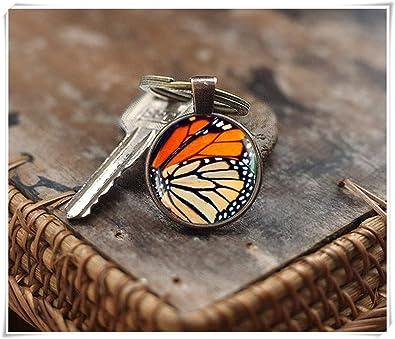 Llavero con diseño de ala de Mariposa con monarca de la ...
