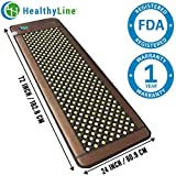 HealthyLine Far Infrared Heating Mat - Promotes Pain & Stress Relief | Natural Jade & Tourmaline 72''x24'' | Negative Ions (Large & Firm) | FDA