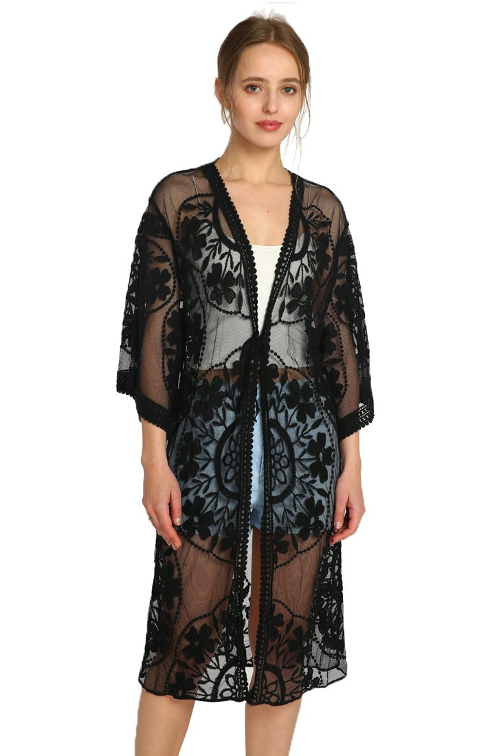 Womens Open Front Lace Cardigan Plain Sleeveless Asymmetric Draped Hem Vest Coverup 2018CVest-5