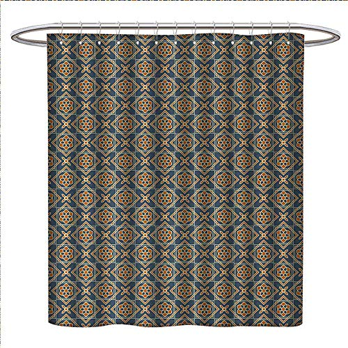Anniutwo Vintage Shower Curtains Mildew Resistant Little Daffodils Florets Delicate Features Arabian Style Yard Blooms Corsage Satin Fabric Bathroom Washable W36 x L72 Dark Blue Orange