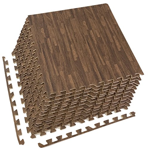 Sorbus Interlocking Floor Mat – Multipurpose Foam Tile Flooring with Borders – Home, Office, Playroom, Basement, 48 Sq ft (Wood Grain - Dark, 12 Tiles)