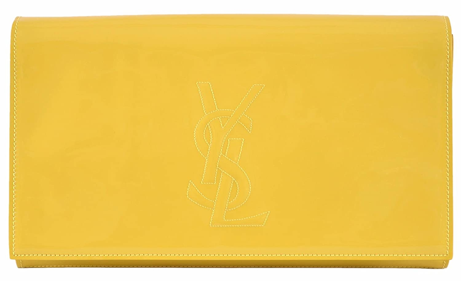 Yves Saint Laurent YSL Women's Yellow Patent Leather Large Belle de Jour Clutch