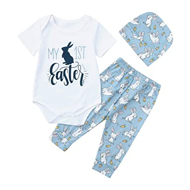 2019 1st Easter Outfits Newborn Infant Baby Boy Girl Romper+Pants Hat Clothes US