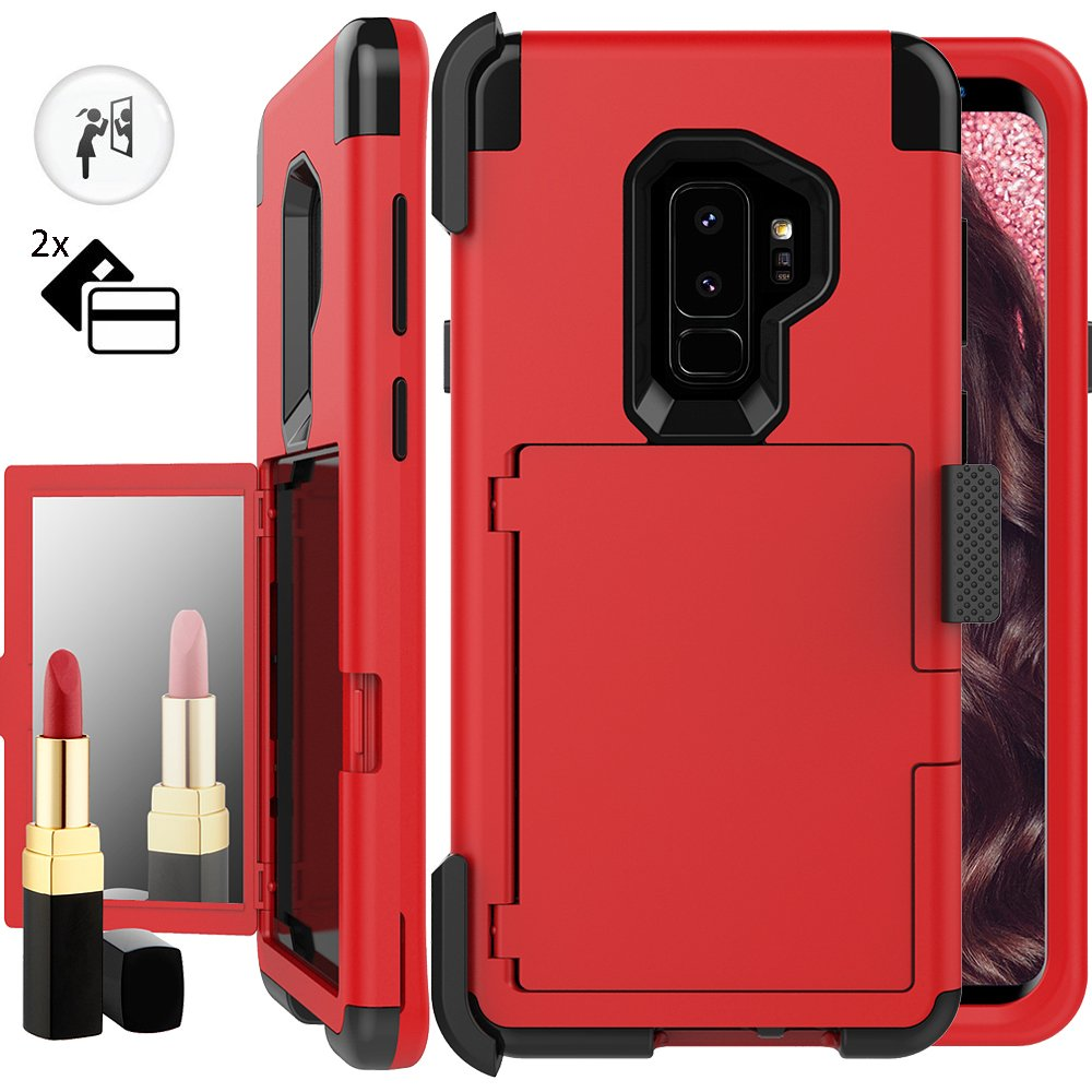 Galaxy S9 Wallet Case,S9 Holster Case,Auker Shockproof Card Holder Design Mirror Wallet Case Heavy Duty Military Grade Armor High Impact Full Body Drop Protection Cover for Samsung Galaxy S9 (Red)
