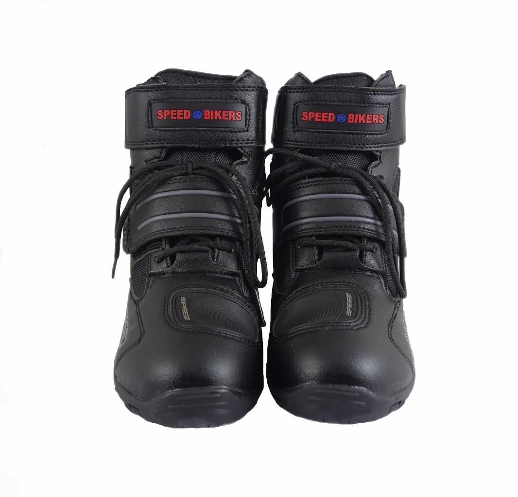 Botas de motorista de cuero negro impermeable ca/ña baja