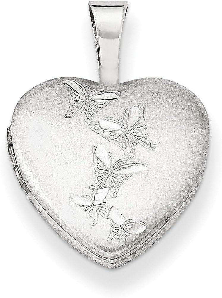 .925 Sterling Silver Butterflies Heart Locket Charm Pendant