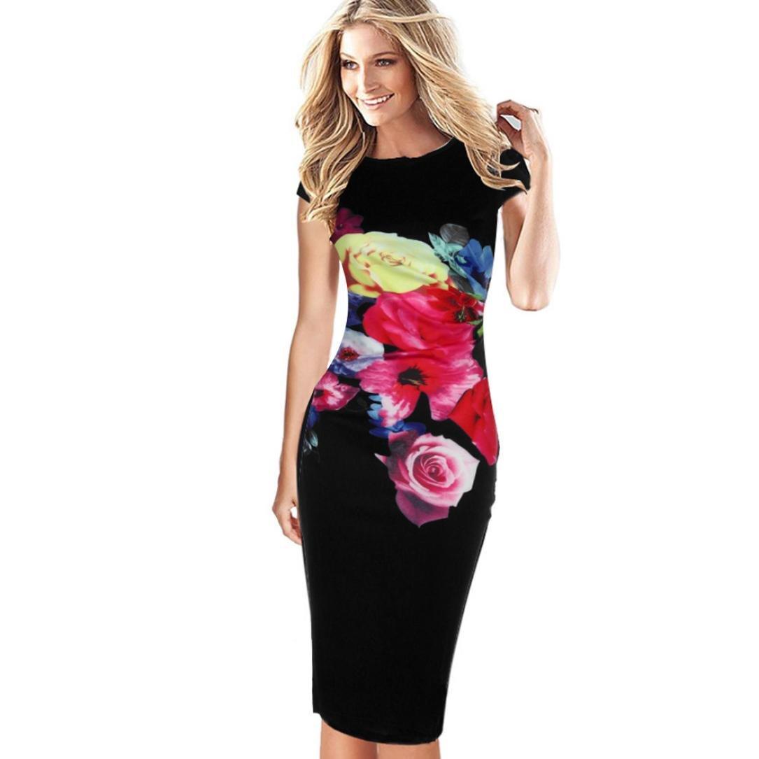Damen Kleid Yesmile Sexy Sommer Frauen Ärmelloses Bodycon Damen Abend Party Kleid Sexy Club Bleistift Kleid Sommer Blumendruck Natürliches Knie Länge Kleid