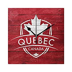 Franzibla Quebec Province Canada Maple Leaf Flag 7.87 Inch Battery Operated Decorative Wall Clock, Quartz Clock For Bedrooms, Living Room, Bathroom