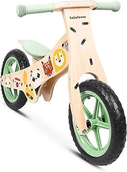 Lalaloom WILD BIKE - Bicicleta sin pedales madera verde diseño animales andador bebe correpasillos niños 2 años para equilibrio sillín regulable con ruedas de goma EVA: Amazon.es: Juguetes y juegos