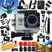 WATERPROOF Digital Camera / Camcorder HD 720p KoolCam AC100 f/ All Ages KIDS / ADULTS + PRO Accessories Kit Includes: Head Strap + Adjustable Bike Mount + Helmet Mount + Long Life Battery + USB Charging Cable + Handheld Extendable MONOPOD Pole + 2 J-hooks + Camera Wrist Mount + Hermetically Sealed Floating Bobber + Remote Control Wrist Mount + External Charger + Adjustable Tripod Mount + 2 Adhesive Curved Stickers / Curved Surface Mounts + 2 Adhesive Flat Stickers / Flat Surface Mounts + Assorted Camera Mounts / Clips + an Extra Hard Waterproof Cover + Screen Protectors + Lens Cap Keeper + Memory Card Wallet Holder + Mini Table Tripod + Deluxe Cleaning Kit + Ultra Fine HeroFiber Cleaning Cloth
