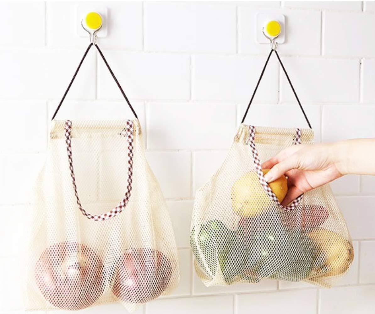 2pcs//Set Hanging Mesh Space Saver Bags Organizer Fruit Storage Basket Room Barthroom Organization mesh Hanging Bag