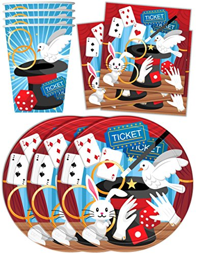 Magic Show Birthday Party Supplies Set Plates Napkins Cups Tableware Kit for (Magic Birthday Party)