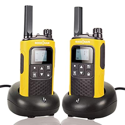 Rechargeable Walkie Talkies for Adults Long Range 5 Miles Two Way Radio with Rechargeable Battery for Camping Hiking Hunting Security Hotel Socotran T80 Yellow FRS No License Intercom 2 Pack: Car Electronics