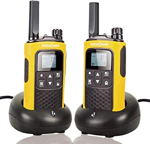 Rechargeable Walkie Talkies for Adults Long Range 5 Miles Two Way Radio with Rechargeable Battery for Camping Hiking Hunting Security Hotel Socotran T80 Yellow FRS No License Intercom 2 Pack
