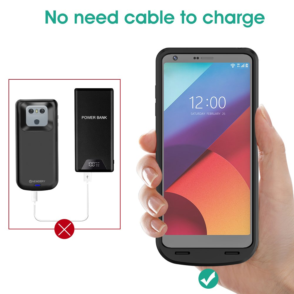 best loved fcc57 869cd NEWDERY LG G6 Battery Case, 5000mAh Slim Wireless Charger Case,  Rechargeable Extended Charging Case with USB - C Port and Soft TPU Full  Protection ...