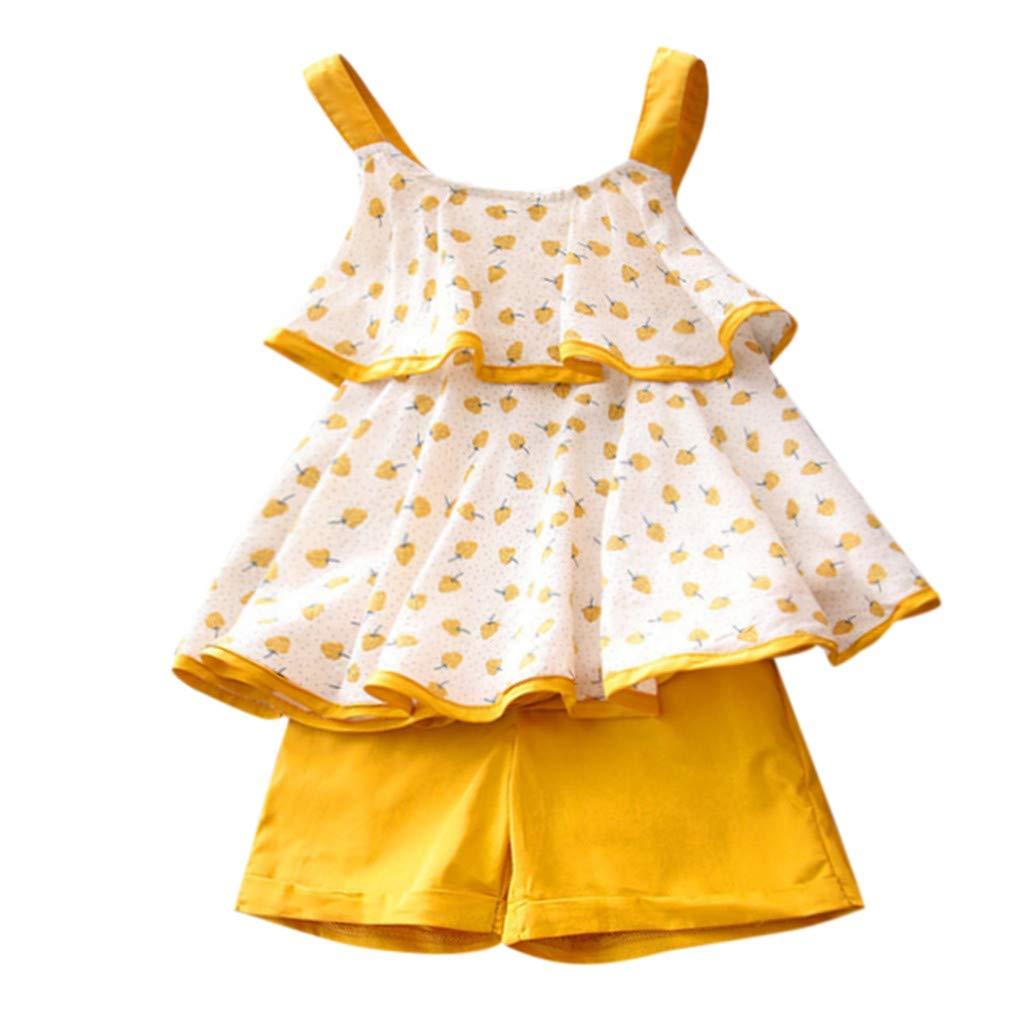 Xshuai Kleinkind Kind Baby M/ädchen Kleidung Brief Print T-Shirt Tops Shorts Hosen Outfits Set