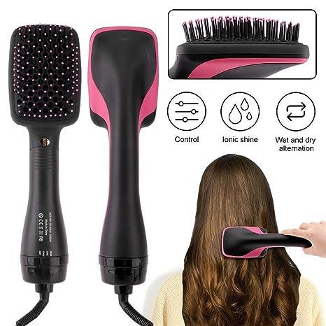 Belleza secador de aire caliente cepillo de pelo de iones negativos secador alisador liso pelo peine para todo tipo de cabello,Black: Amazon.es: Belleza