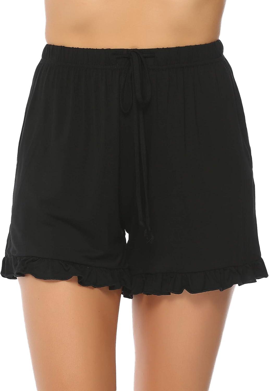 100/% Cotone Pigiama Shorty Cotone Estivo a Righe Pigiama Pantaloni Casual per Le Donne Aibrou Pantaloncini Donna Cotone