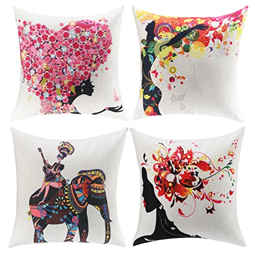 Daidu Charming girl Home Couch Decor Square Throw Pillow Cushion Covers 18x18 inches Set of 4,Cotton & Linen