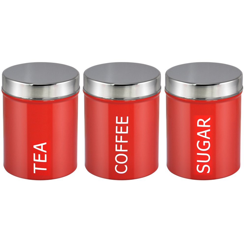 NEW RETRO RED ENAMEL TEA/COFFEE/SUGAR CANISTER SET by www.choicefullshop.com oCean Express