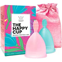 Happy Cup Menstrual Cups Hawwwy Tampon & Pad Alternative Small and Large Regular and Heavy Flow Good-Grip Pull Design…