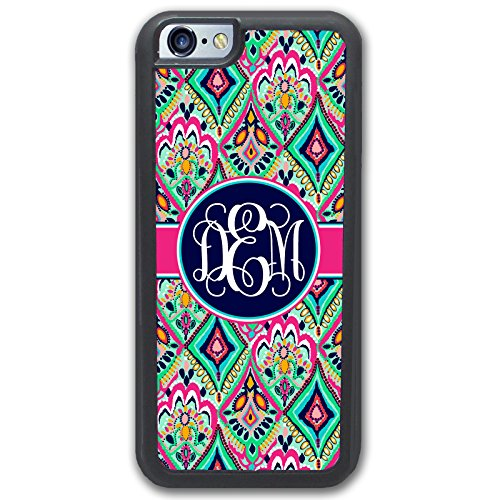 - Simply Customized Phone Case Compatible with iPhone SE Pretty Floral Jewels with Monogram Monogrammed Personalized