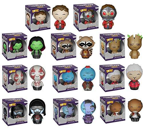 Guardians of the Galaxy Korath, The Collector, Star-Lord Unmasked, Groot, Ronan, Drax, Yondu, Nebula, Rocket Raccoon, Gamora and Star-Lord Dorbz Vinyl Figures Set of 11