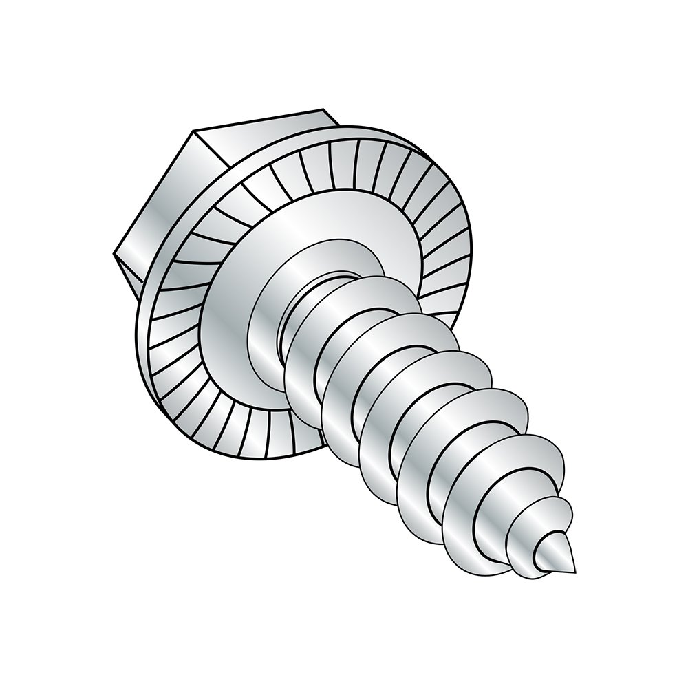 Zinc Plated Serrated Hex Washer Head 1//2 Length Pack of 100 Hex Drive Steel Sheet Metal Screw #10-16 Thread Size Type AB