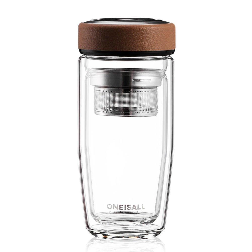 Brown High Grade Double Wall Glass Water Bottle Tea Infuser Bottle Travel Mug Cup 13Oz