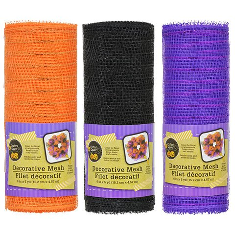 Crafter's Square Decorative Halloween Mesh in Purple, Orange and Black (Black And White Halloween Mask Printables)