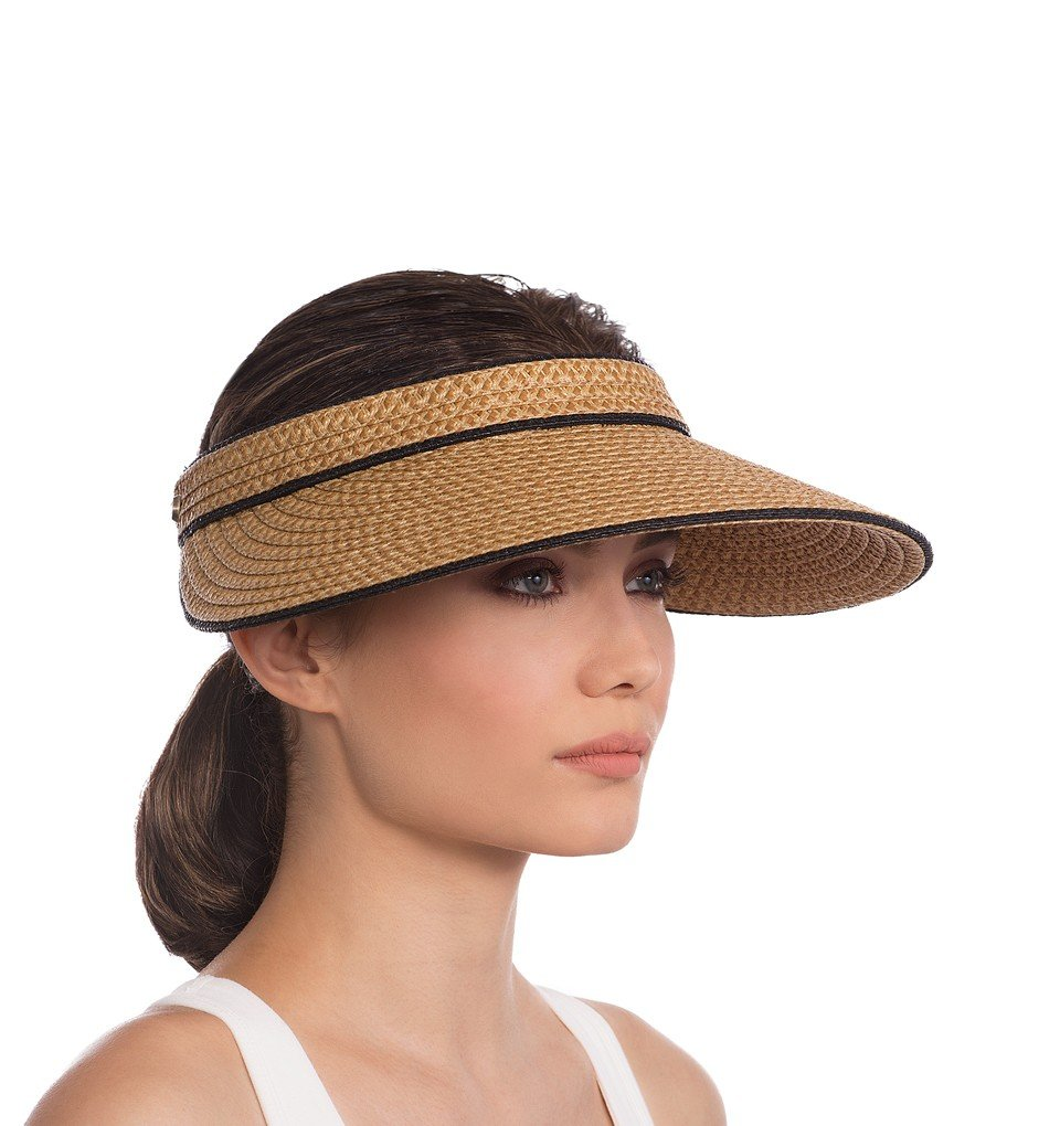 Eric Javits Luxury Fashion Designer Women's Headwear Hat - VA Voom - Natural/Black by Eric Javits
