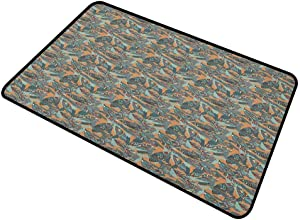 DESPKON Floor Mat Funky Leaves with Paintbrush Marks Earthy Tones Retro Style Garden Fashion Graphic Rectangular Welcome Doormat for Indoor and Outdoor, Waterproof, Easy Clean Multicolor 16 x 24 Inch