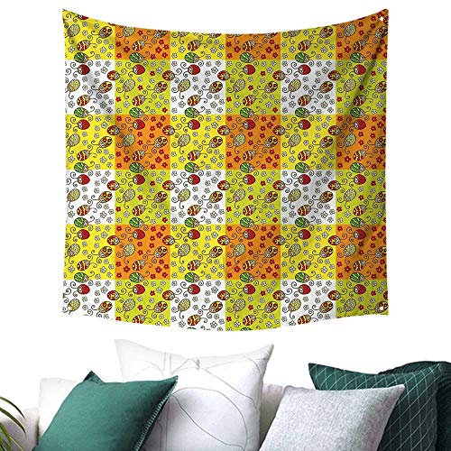 homehot Ladybugs Tapestry for Dorm Cartoon Style Flowers and Beetles Squares Nature Ornamental Summer Season Inspired Restaurant/Shop Decoration 39W x 39L Inch Multicolor