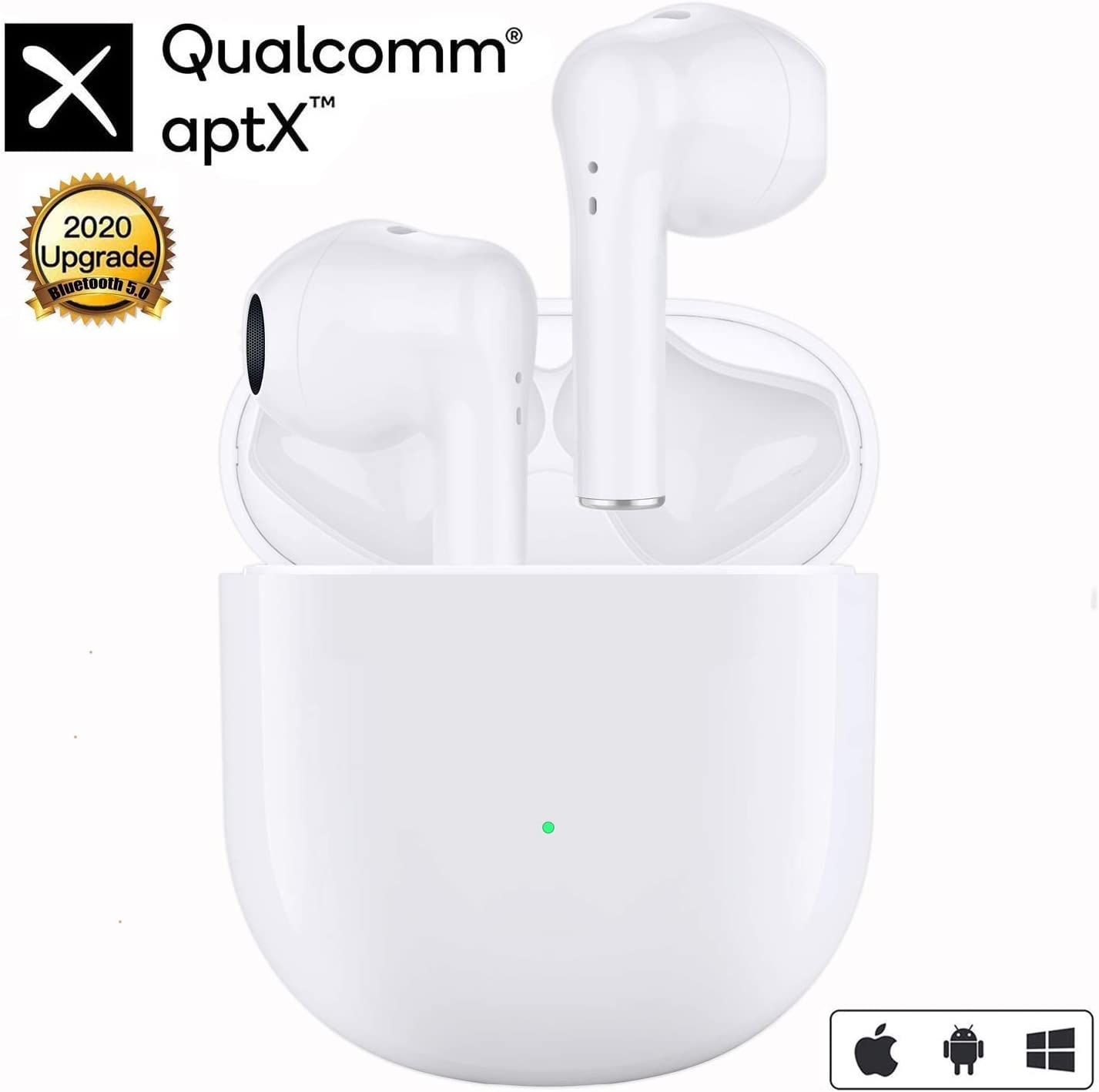 Wireless Earbuds Touch Control Bluetooth 5.0 Headphones in-Ear with Charging Case 3D Stereo Earphones IPX5 Waterproof Bluetooth Earbuds Built in Mic Headsets Deep Bass for iPhone Android