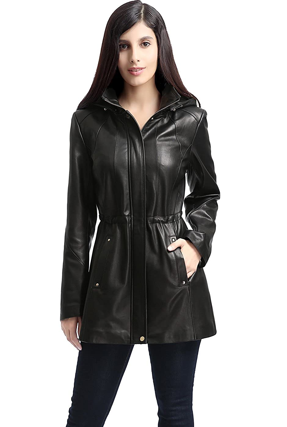 Regular and Plus Size and Short BGSD Womens Natalie Lambskin Leather Anorak Coat