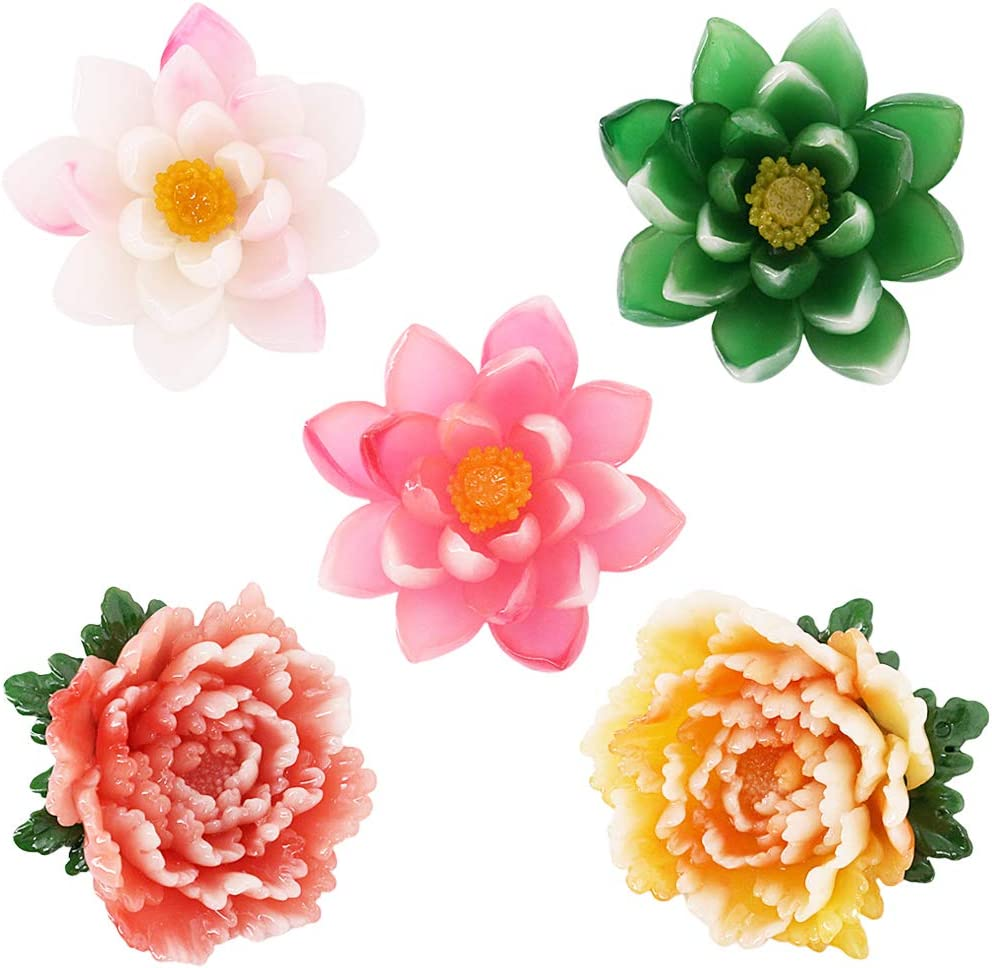 Jascaela 5pcs Jade Lotus Peony Refrigerator Magnets Resin Flower Colorful Fridge Stickers Door Kitchen Map Office Whiteboard Home Decor Gift (Green+Rose Red+Pinkish-white Lotus, Pink+Yellow Peony)