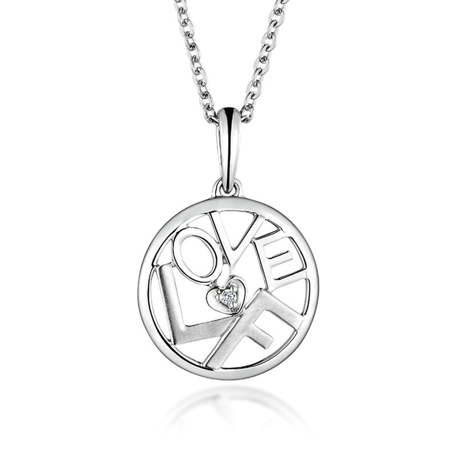 Epinki 18K Gold Women Diamond Necklace Letter ''Love F'' Heart Round Shape Pendant Bride Jewelry Diamond
