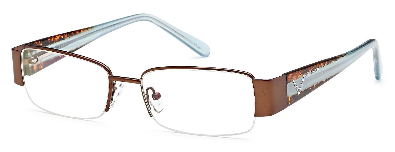 40873075b43 Amazon.com  Women s Semi-Rimless Brown Glasses Frames Prescription  Eyeglasses Size 53-17-135  Clothing