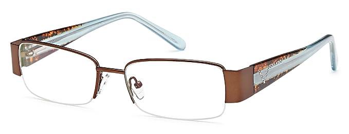 f4309b4e75 Women s Semi-Rimless Brown Glasses Frames Prescription Eyeglasses Size 53-17 -135